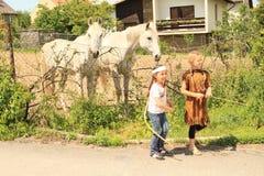 Zwei Kinder - Mädchen, die von zwei Pferden gehen Lizenzfreies Stockbild