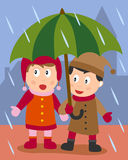 Zwei Kinder unter dem Regenschirm stock abbildung