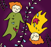Zwei kleine Babys der Karikatur halten Hände im feenhaften Raum Lizenzfreies Stockbild