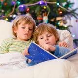 Zwei kleine blonde Geschwisterjungen, die ein Buch auf Weihnachten lesen Stockfotografie