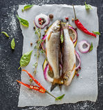 Zwei kleine frische Flussfische auf einem Blatt von Stockfotografie