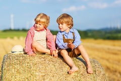 Zwei kleine Geschwisterjungen und -freunde, die auf Heustapel sitzen Stockbild
