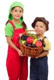 Zwei kleine Kinder mit Korb der Früchte Stockbilder