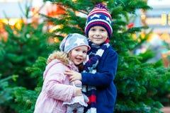Zwei kleine lächelnde Kinder, Junge und Mädchen mit Weihnachtsbaum Lizenzfreies Stockfoto