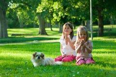 Zwei kleine Mädchen, die Eiscreme im Park essen lizenzfreies stockbild