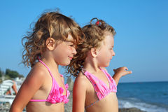 Zwei kleine Mädchen auf dem Strand, fern schauend Stockbilder