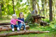 Zwei kleine Schwestern, die auf einer Anmeldung einen Wald sitzen Lizenzfreie Stockbilder