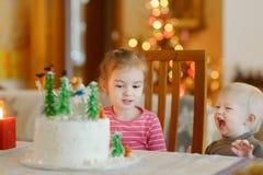 Zwei kleine Schwestern und ein Weihnachtskuchen Stockbilder