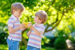 Zwei kleine Vorschulkinderjungen, die Wassermelone im Sommer essen Stockfoto