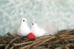Zwei kleine weiße Vögel in der Liebe mit rotem Herzen Valentinsgruß `s Tag Se Stockfotos