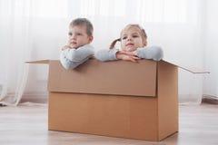 Zwei Kleinkinder Junge und Mädchen, die in den Pappschachteln spielen Zu vieler usb-Seilzug Kinder haben Spaß stockbild