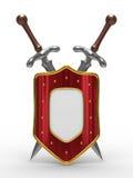 Zwei Klinge und Schild auf weißem Hintergrund Lizenzfreies Stockfoto