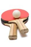 Zwei Klingeln Pong Paddel mit Kugel Stockfotos