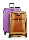 Zwei Koffer auf weißem Hintergrund Stockbild