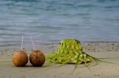 Zwei Kokosnüsse und Sonnenhut auf dem sandigen Seeufer Lizenzfreie Stockbilder