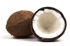 Zwei Kokosnüsse weit mit normaler Seite Lizenzfreies Stockbild