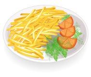 Zwei Koteletts auf einer Platte Schmücken Sie die heißen gebratenen Kartoffelstreifen Tomaten und Grüns in der Nähe Schnelle, ges lizenzfreie abbildung