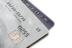 Zwei Kreditkarten getrennt Stockbild