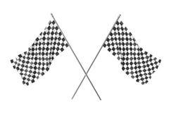 Zwei kreuzten Rennzielflaggen, Fertigungszielflagge, die Wiedergabe 3d, die auf Weiß lokalisiert wurde Stockbilder
