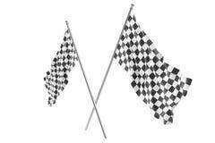 Zwei kreuzten Rennzielflaggen, Fertigungszielflagge, die Wiedergabe 3d, die auf Weiß lokalisiert wurde Stockbild