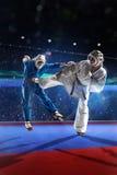 Zwei kudo Kämpfer kämpfen auf der großartigen Arena stockfotografie