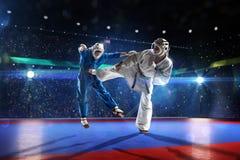 Zwei kudo Kämpfer kämpfen auf der großartigen Arena lizenzfreie stockbilder