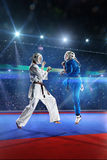 Zwei kudo Kämpfer kämpfen auf der großartigen Arena lizenzfreies stockbild
