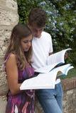 zwei Kursteilnehmer mit Buch am Campus stockfotos