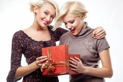 Zwei lächelnde blonde Schönheiten Lizenzfreies Stockfoto