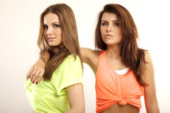 Zwei lächelnde Freundinnen - blond und Brunette Stockfoto