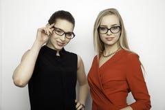 Zwei lächelnde Freundinnen - blond und Brunette Lizenzfreie Stockfotografie