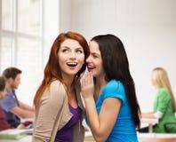 Zwei lächelnde Mädchen, die Klatsch flüstern Stockfotos