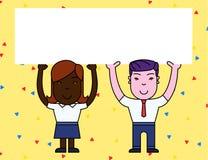 Zwei l?chelnder Leute-Mann und weibliche haltene gro?e Plakat-Brett-Unkosten des freien Raumes mit beiden H?nden Kreativer Hinter vektor abbildung