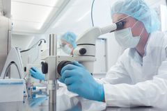 Zwei Labortechniker oder -wissenschaftler, die im Labor arbeiten Stockfotos