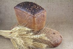 Zwei Laibe Brot und Weizen Stockfotografie