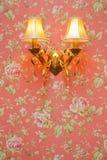 Zwei Lampen auf rosafarbenem Blumenmuster Stockbild