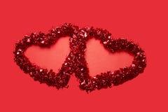 Zwei lasen Valentine Hearts Lizenzfreies Stockbild