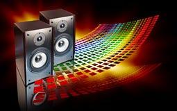 Zwei Lautsprecher auf abstraktem Hintergrund Lizenzfreies Stockbild