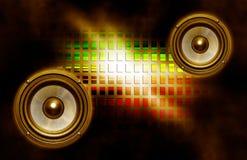 Zwei Lautsprecher auf abstraktem Hintergrund Stockbilder