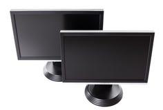 Zwei LCD hochauflösendes Flachbildschirm Fernsehen Lizenzfreie Stockfotos