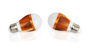 Zwei LED-Energieeinsparungsbirnen Stockfotografie