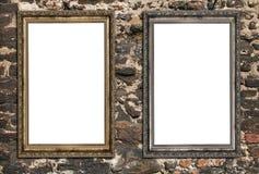 Zwei leere Holzrahmen Stockfoto