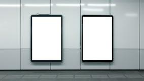 Zwei leeres U-Bahnanzeigen Weiß lokalisiertes copyspace stockfotos