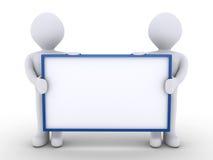 Zwei Leute im Team halten ein leeres Zeichen lizenzfreie abbildung
