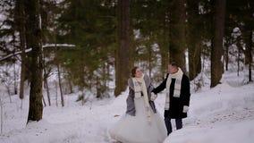 Zwei Liebhaber in den gleichen Schals, den Winterwald durchzulaufen sind sie der Spa?, zum in Verbindung zu stehen und zu l?cheln stock video footage