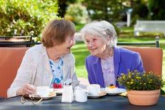Zwei ältere Frauen, die am Tisch im Freien sich entspannen Lizenzfreies Stockbild
