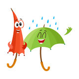 Zwei lustig, glückliche Regenschirmcharaktere, offen und geschlossen, unter Regen vektor abbildung