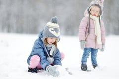 Zwei lustige entzückende kleine Schwestern im Winterpark Lizenzfreies Stockfoto