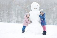 Zwei lustige entzückende kleine Schwestern im Winterpark Lizenzfreies Stockbild