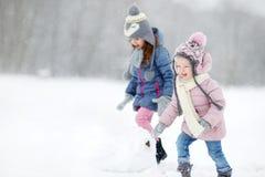 Zwei lustige entzückende kleine Schwestern im Winterpark Lizenzfreie Stockbilder